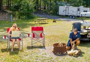 Couple Camping RV Park