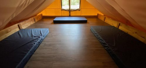 Upstairs glamping tent