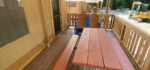 Front porch with picnic table